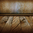 Vintage wall and old wood floor.Antique background — Stock Photo