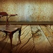 Vintage chair on old wooden floor.Antique background — Stock Photo #10264073