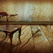 Stock Photo: Vintage chair on old wooden floor.Antique background