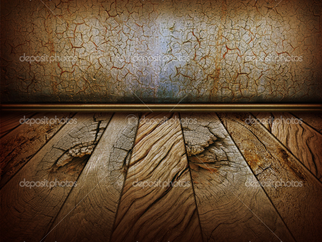Vintage wall and old wood floor.Antique background for design — Stock Photo #10264055