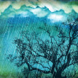 Raining sky.Grunge nature background with tree and dark clouds — Stock Photo