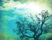 Grunge nature background with tree — Stock Photo