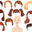 Hairstyle.Woman face and set of haircuts — Stockvectorbeeld