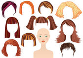 Hairstyle.Woman face and set of haircuts — Stock Vector