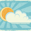 Sun and clouds.Vector vintage card on old paper texture - Stock Vector