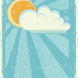 sun and clouds.vector vintage card on old paper texture — Stock Vector