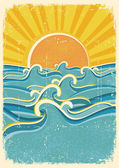Sea waves and yellow sun on old paper texture.Vintage illustrati — Vector de stock