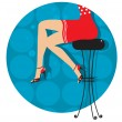 Woman legs with fashion shoes sitting on bar stool.Color illustr — Stock Vector