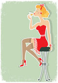 Retro woman is sitting and drinking martini in red dress — Stock Vector