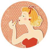 レトロな素敵な女性と古い紙のテクスチャの口紅は、メイクアップ — ストックベクタ