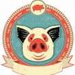 Stock Vector: Pig head label on old paper texture.Vintage style