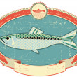 Fish label on old paper texture.Vintage style - Stock Vector