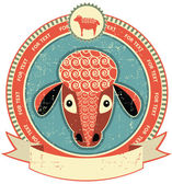 Sheep head label on old paper texture.Vintage style — Stock Vector