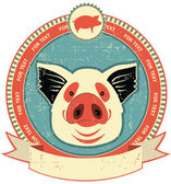 Pig head label on old paper texture.Vintage style — Stock Vector