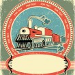 Locomotive label.Vintage style on old texture — Vettoriali Stock