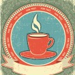 Coffee label on old paper background.Vintage style for text — Stok Vektör