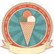 Ice cream label set on old paper texture.Vintage background — Imagen vectorial