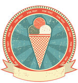 Ice cream label set on old paper texture.Vintage background — Stock Vector
