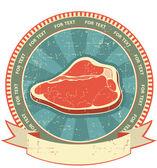 Meat label set on old paper texture.Vintage background — Stock Vector