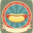Stock Vector: Hot dogs.Vintage label of fast food on old paper background