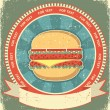 Hamburger label set on old paper texture.Vintage background - Stock Vector