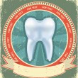 Tooth label set on old paper texture.Vintage background — Stockvectorbeeld