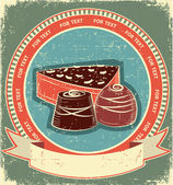 Chocolate sweets label set on old paper texture.Vintage backgrou — Stock Vector