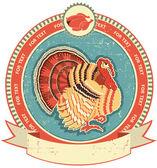 étiquette de la turquie sur l'ancien style de texture.vintage papier — Vecteur