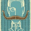 Stock Vector: Mand mustaches.Retro image on old paper
