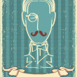 Stock Vector: Man face and mustache.Retro image on old paper