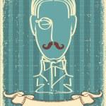 Mann Gesicht und mustache.retro Bild auf Papier — Stockvektor