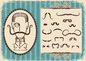 Man portrait and mustaches.Retro background on old paper — Stock Vector