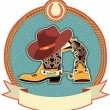 Cowboy boots and hat label — Stock Vector #9110417