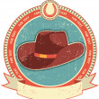 Royalty-Free Stock Vector Image: Cowboy hat label on old paper texture.Vintage style