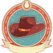 Cowboy hat label on old paper texture.Vintage style - Imagen vectorial