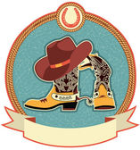 Cowboy boots and hat label — Stock Vector