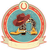 Cowboy boots and hat label on old paper texture.Vintage style — Stock Vector
