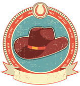 Cowboy hat label on old paper texture.Vintage style — Stock Vector