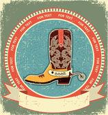 Botte cowboy étiquette sur l'ancien style de texture.vintage papier — Vecteur