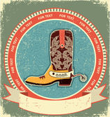 Cowboy boot label on old paper texture.Vintage style — Vector de stock