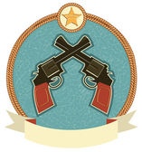 Western revolvers and sheriff star.Vector label illustration for — Stock Vector