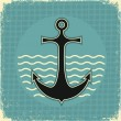 Nautical anchor.Vintage image on old paper texture — Stock Vector
