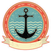 Nautical anchor.Vintage label on old paper texture — Stock Vector