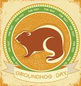 Marmot day.grunge label achtergrond op oud papier voor tekst — Stockvector