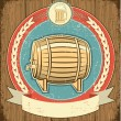 Royalty-Free Stock Vector Image: Barrel of beer label set on old paper texture.Grunge background