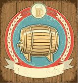 Barrel of beer label set on old paper texture.Grunge background — Stock Vector