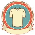 kläder etikett på white.vector t-shirt bakgrund — Stockvektor