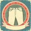 Jeans label set on vintage old paper.Vector clothes background - Stock Vector