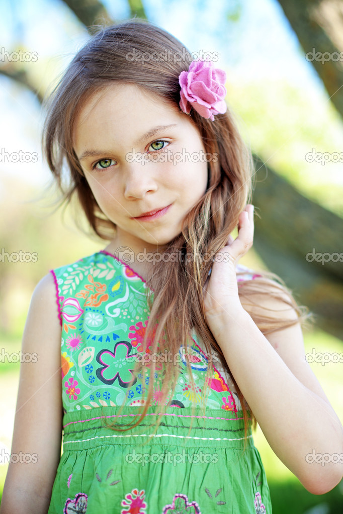 Portrait of beautiful little girl  Stock Photo #10456163
