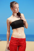 Fitness the beach — Stock Photo